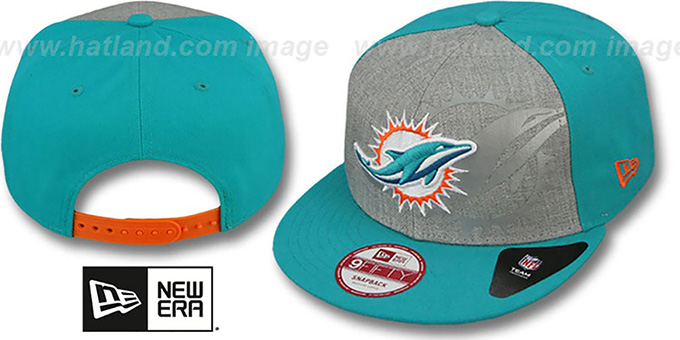 Dolphins 'HEATHER-REFLECT SNAPBACK' Grey-Aqua Hat by New Era : pictured without stickers that these products are shipped with