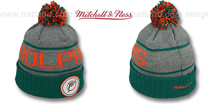 Dolphins 'HIGH-5 CIRCLE BEANIE' Grey-Aqua by Mitchell and Ness : pictured without stickers that these products are shipped with