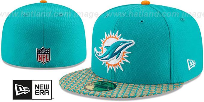 best service b5fcf 920cc Dolphins HONEYCOMB STADIUM Aqua Fitted Hat by New Era