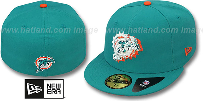 Dolphins 'ILLUSION' Aqua Fitted Hat by New Era : pictured without stickers that these products are shipped with