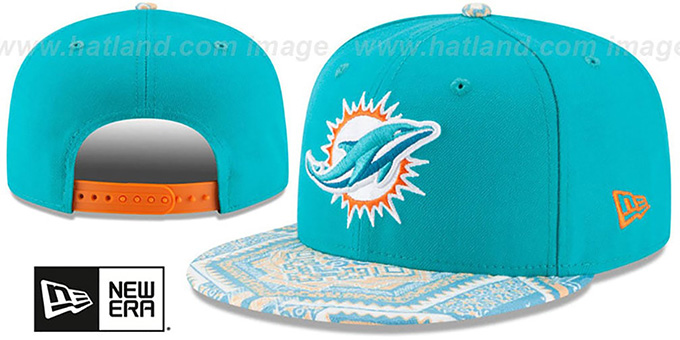 Dolphins 'KALEIDOVIZE SNAPBACK' Aqua Hat by New Era : pictured without stickers that these products are shipped with