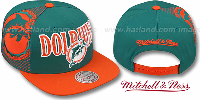 Dolphins 'LASER-STITCH SNAPBACK' Aqua-Orange Hat by Mitchell & Ness : pictured without stickers that these products are shipped with