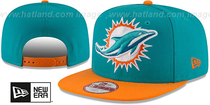Dolphins 'LOGO GRAND REDUX SNAPBACK' Aqua-Orange Hat by New Era : pictured without stickers that these products are shipped with
