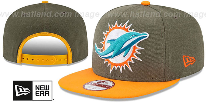 Dolphins 'LOGO GRAND SNAPBACK' Olive-Orange Hat by New Era : pictured without stickers that these products are shipped with