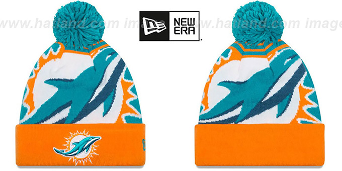 Dolphins 'LOGO WHIZ' Aqua-Orange Knit Beanie Hat by New Era : pictured without stickers that these products are shipped with