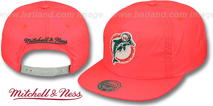 Dolphins 'NEON SNAPBACK' Orange Hat by Mitchell & Ness : pictured without stickers that these products are shipped with