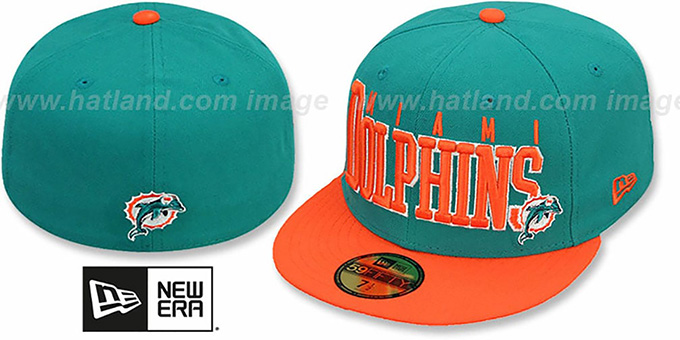 Dolphins 'NFL 2T CHOP-BLOCK' Aqua-Orange Fitted Hat by New Era : pictured without stickers that these products are shipped with