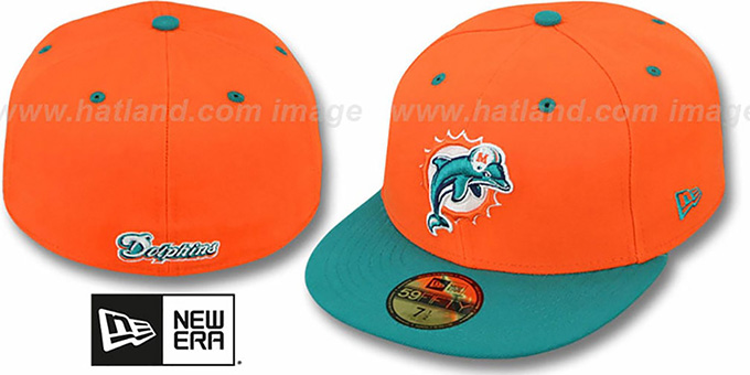 Dolphins 'NFL 2T-TEAM-BASIC' Orange-Aqua Fitted Hat by New Era : pictured without stickers that these products are shipped with