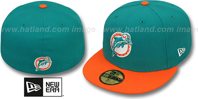 Dolphins 'NFL 2T THROWBACK TEAM-BASIC' Aqua-Orange Fitted Hat by New Era : pictured without stickers that these products are shipped with