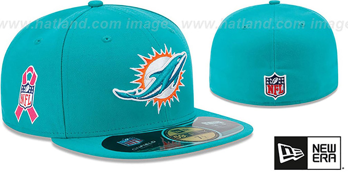 Dolphins 'NFL BCA' Aqua Fitted Hat by New Era : pictured without stickers that these products are shipped with