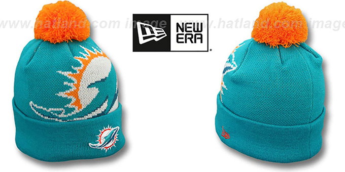 Dolphins 'NFL-BIGGIE' Navy Knit Beanie Hat by New Era : pictured without stickers that these products are shipped with