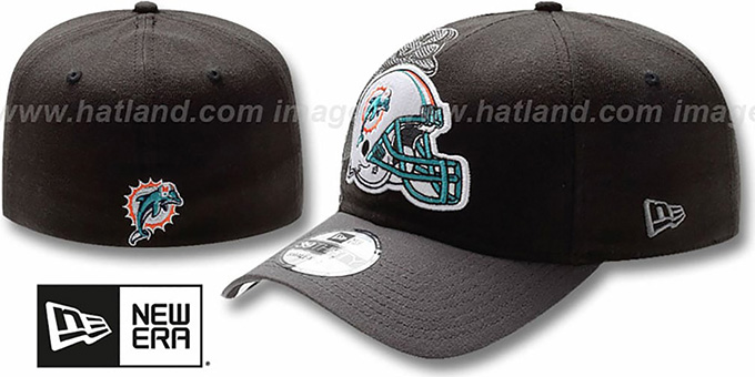 Dolphins 'NFL BLACK-CLASSIC FLEX' Hat by New Era : pictured without stickers that these products are shipped with