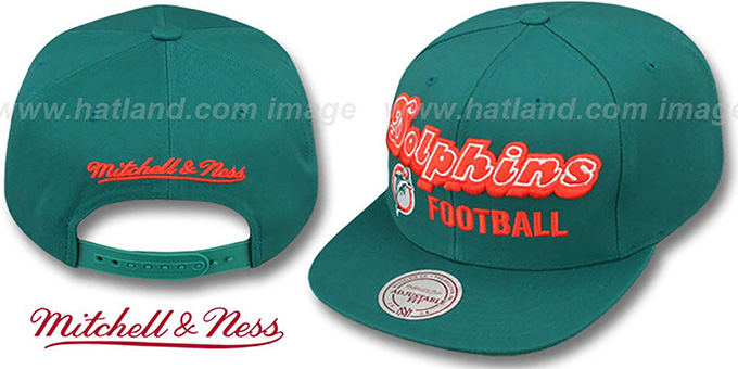Dolphins 'NFL-BLOCKER SNAPBACK' Aqua Hat by Mitchell & Ness : pictured without stickers that these products are shipped with