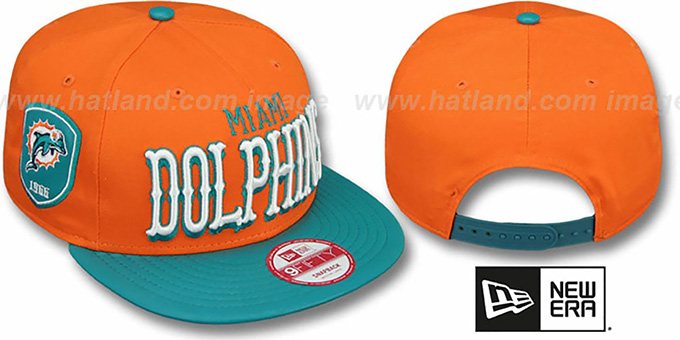 Dolphins 'NFL ENGLISH-WORD SNAPBACK' Orange-Aqua Hat by New Era : pictured without stickers that these products are shipped with