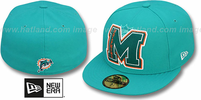 Dolphins 'NFL FELTN' Aqua Fitted Hat by New Era