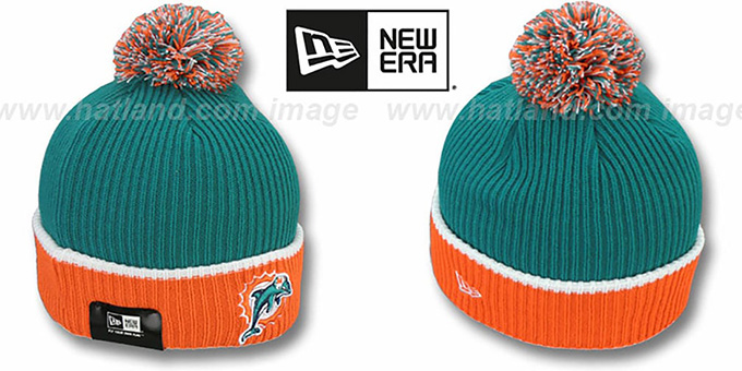 Dolphins 'NFL FIRESIDE' Aqua-Orange Knit Beanie Hat by New Era : pictured without stickers that these products are shipped with