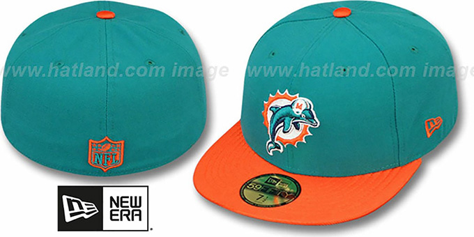 Dolphins 'NFL JERSEY-BASIC' Aqua-Orange Fitted Hat by New Era : pictured without stickers that these products are shipped with