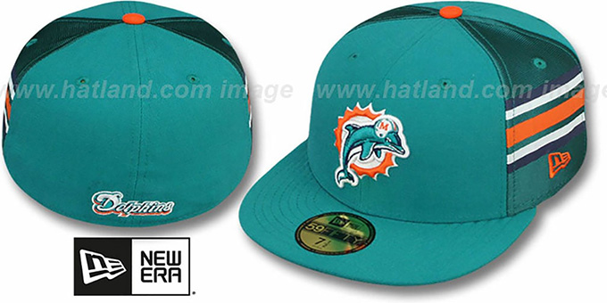 Dolphins 'NFL JERSEY-STRIPE' Aqua Fitted Hat by New Era : pictured without stickers that these products are shipped with