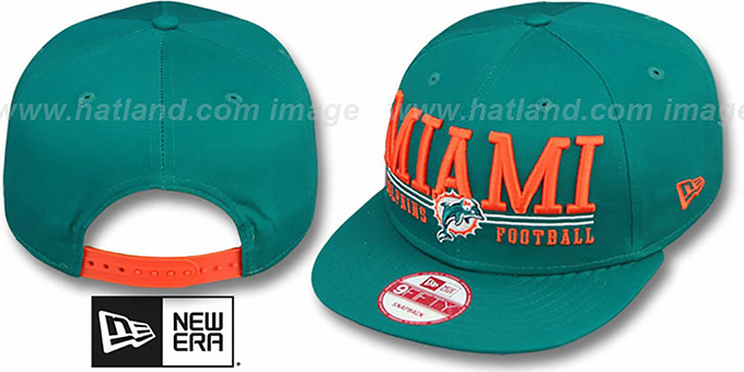Dolphins 'NFL LATERAL SNAPBACK' Aqua Hat by New Era : pictured without stickers that these products are shipped with