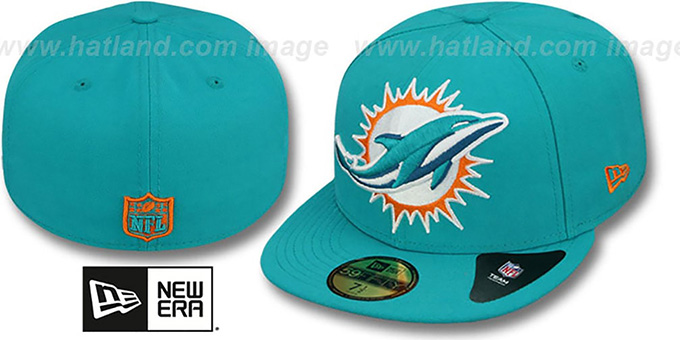 Miami Dolphins NFL MIGHTY-XL Aqua Fitted Hat by New Era c5217a47310