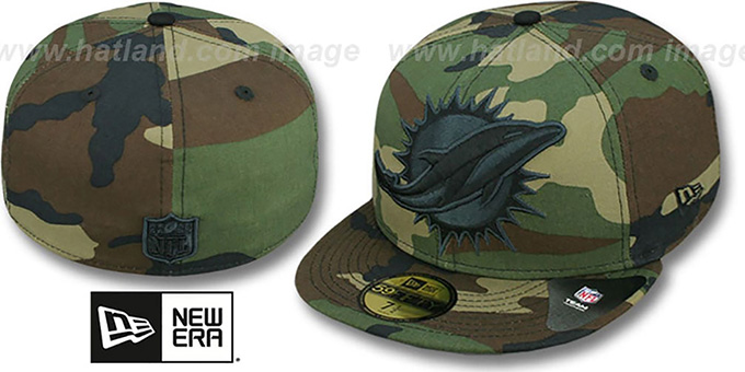 Dolphins NFL 'MIGHTY-XL' Army Camo Fitted Hat by New Era : pictured without stickers that these products are shipped with
