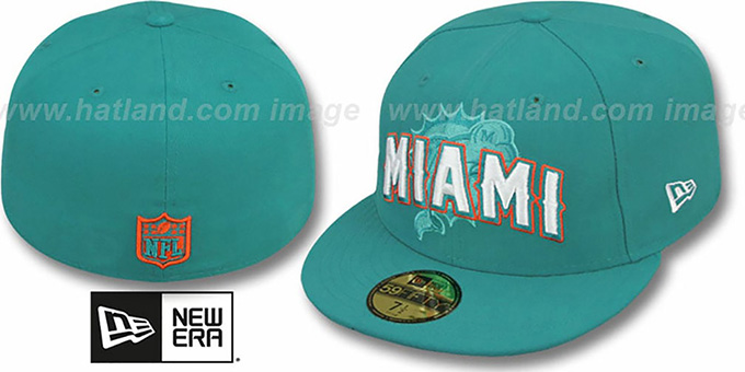 Dolphins 'NFL ONFIELD DRAFT' Aqua Fitted Hat by New Era : pictured without stickers that these products are shipped with
