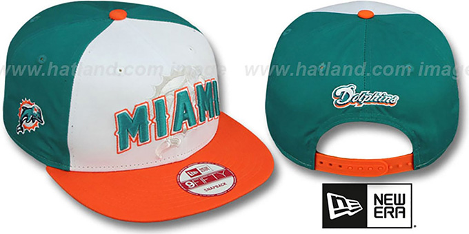 Dolphins 'NFL ONFIELD DRAFT SNAPBACK' Hat by New Era : pictured without stickers that these products are shipped with