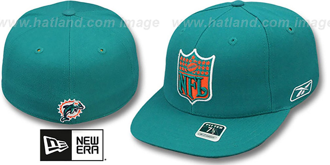 Dolphins 'NFL-SHIELD' Aqua Fitted Hat by Reebok : pictured without stickers that these products are shipped with