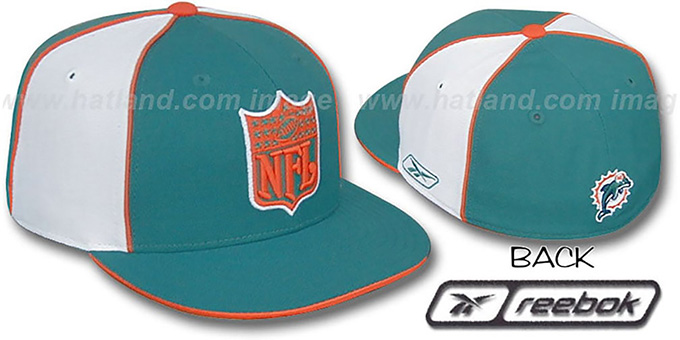 Dolphins 'NFL SHIELD PINWHEEL' Aqua White Fitted Hat by Reebok : pictured without stickers that these products are shipped with