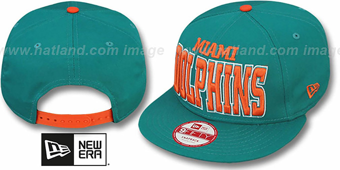 Dolphins 'NFL SOLID SNAPBACK' Aqua Hat by New Era : pictured without stickers that these products are shipped with
