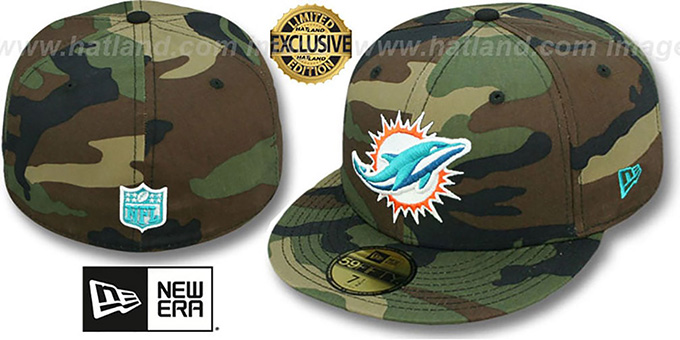 Dolphins 'NFL TEAM-BASIC' Army Camo Fitted Hat by New Era : pictured without stickers that these products are shipped with