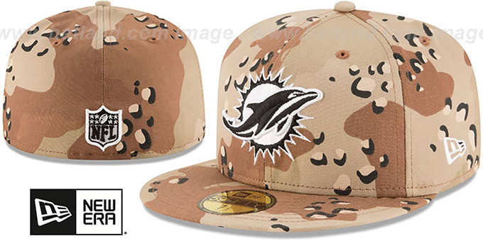 Dolphins 'NFL TEAM-BASIC' Desert Storm Camo Fitted Hat by New Era : pictured without stickers that these products are shipped with