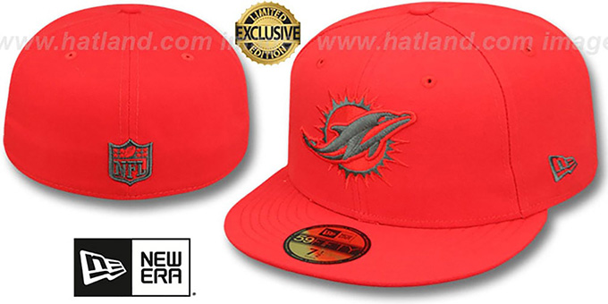Dolphins 'NFL TEAM-BASIC' Fire Red-Charcoal Fitted Hat by New Era : pictured without stickers that these products are shipped with