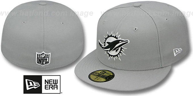 Dolphins 'NFL TEAM-BASIC' Grey-Black-White Fitted Hat by New Era : pictured without stickers that these products are shipped with