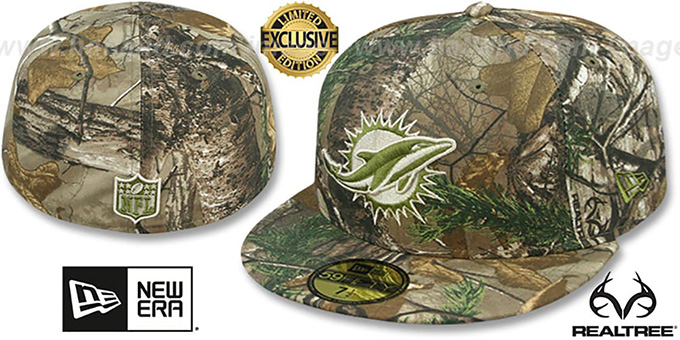 Dolphins 'NFL TEAM-BASIC' Realtree Camo Fitted Hat by New Era : pictured without stickers that these products are shipped with