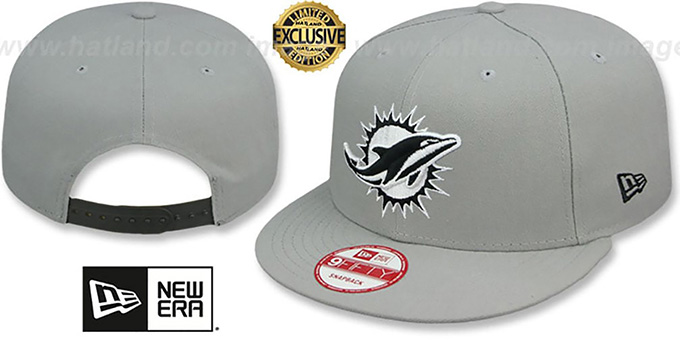 Dolphins 'NFL TEAM-BASIC SNAPBACK' Grey-Black Hat by New Era : pictured without stickers that these products are shipped with