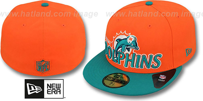 Dolphins 'NFL-TIGHT' Orange-Aqua Fitted Hat by New Era : pictured without stickers that these products are shipped with