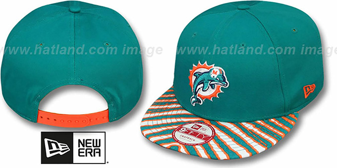 Dolphins 'NFL ZUBAZ SNAPBACK' Aqua Hat by New Era : pictured without stickers that these products are shipped with