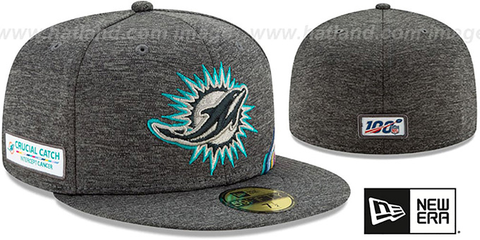 Dolphins 'ONFIELD CRUCIAL CATCH' Grey Fitted Hat by New Era