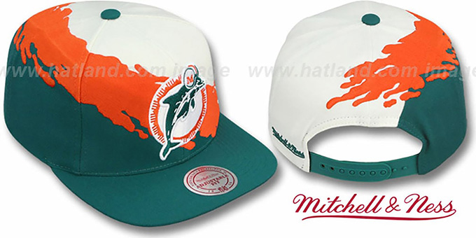 Dolphins 'PAINTBRUSH SNAPBACK' White-Orange-Aqua Hat by Mitchell and Ness : pictured without stickers that these products are shipped with