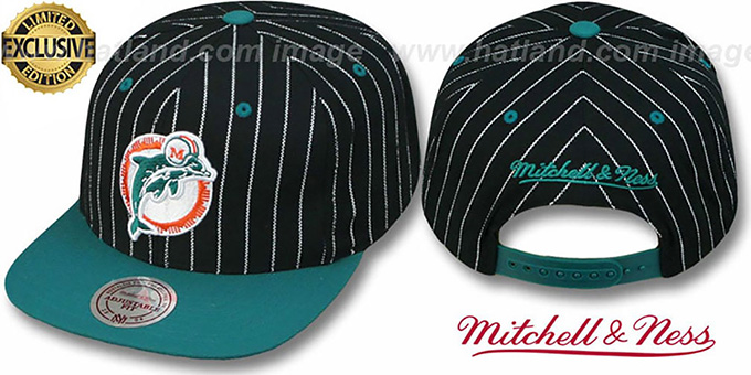 Dolphins 'PINSTRIPE 2T TEAM-BASIC SNAPBACK' Black-Aqua Adjustable Hat by Mitchell & Ness : pictured without stickers that these products are shipped with