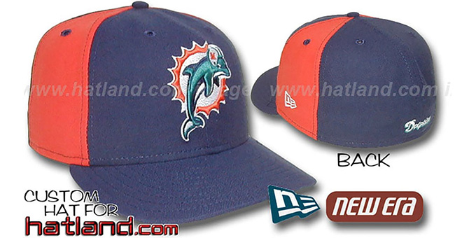 Dolphins 'PINWHEEL-2' Navy-Orange Fitted Hat : pictured without stickers that these products are shipped with