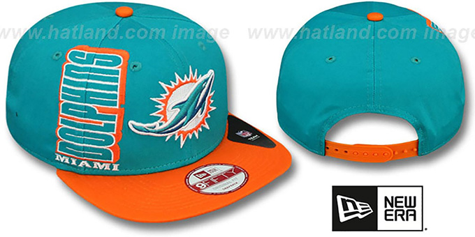 Dolphins 'RALLYMARK SNAPBACK' Aqua-Orange Hat by New Era : pictured without stickers that these products are shipped with