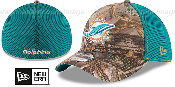 Dolphins 'REALTREE NEO MESH-BACK' Flex Hat by New Era : pictured without stickers that these products are shipped with