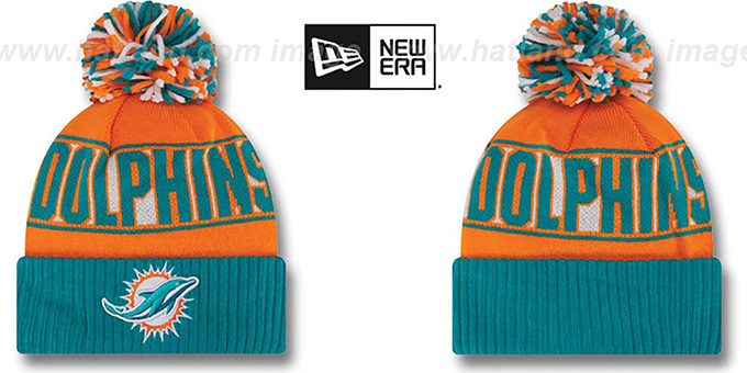 Dolphins 'REP-UR-TEAM' Knit Beanie Hat by New Era : pictured without stickers that these products are shipped with
