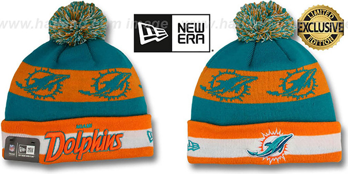 Dolphins 'REPEATER SCRIPT' Knit Beanie Hat by New Era : pictured without stickers that these products are shipped with