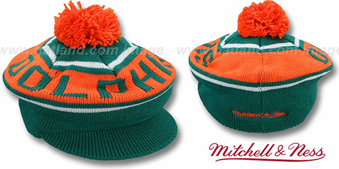Dolphins 'RERUN KNIT BEANIE' by Mitchell and Ness : pictured without stickers that these products are shipped with