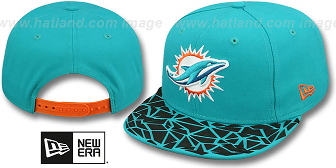Dolphins 'RUBBER MATTE SNAPBACK' Aqua Hat by New Era : pictured without stickers that these products are shipped with