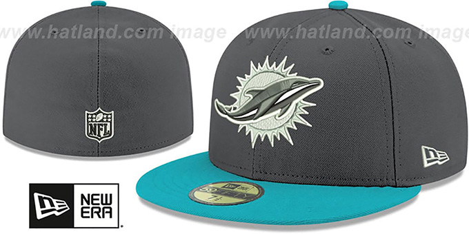 Dolphins 'SHADER MELT-2' Grey-Aqua Fitted Hat by New Era : pictured without stickers that these products are shipped with