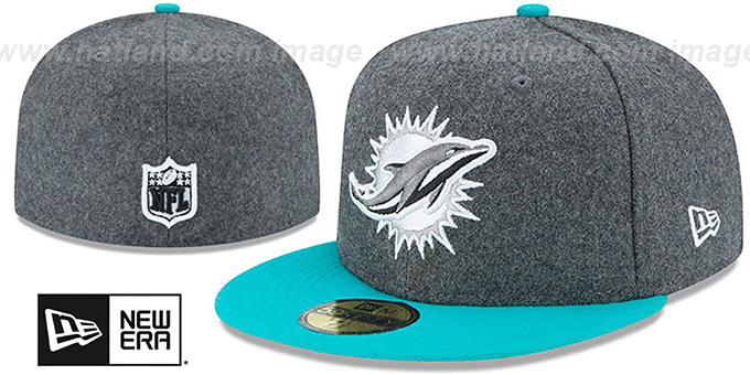 Dolphins 'SHADER MELTON' Grey-Aqua Fitted Hat by New Era : pictured without stickers that these products are shipped with